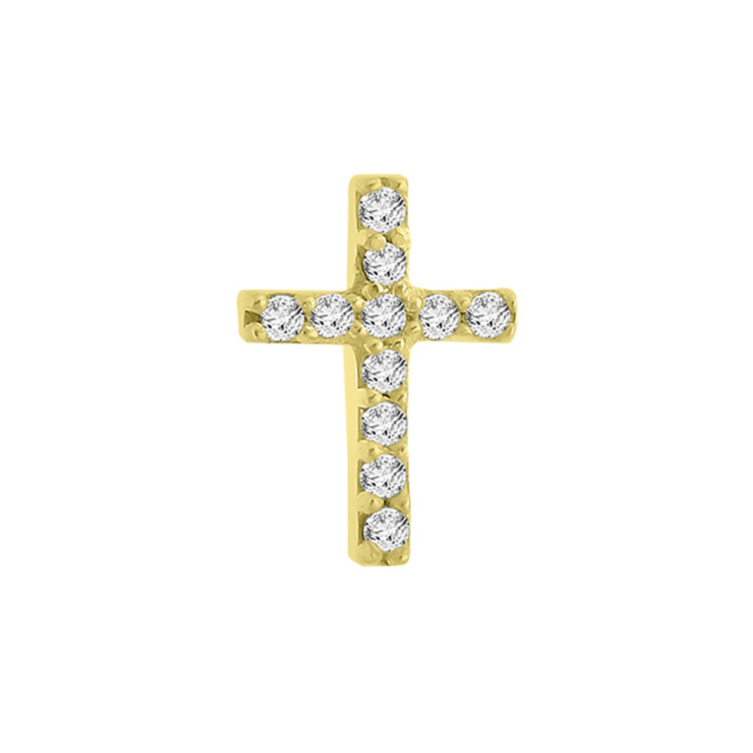 "Image of ""14k Yellow Gold Diamond Cross Single Earring"""