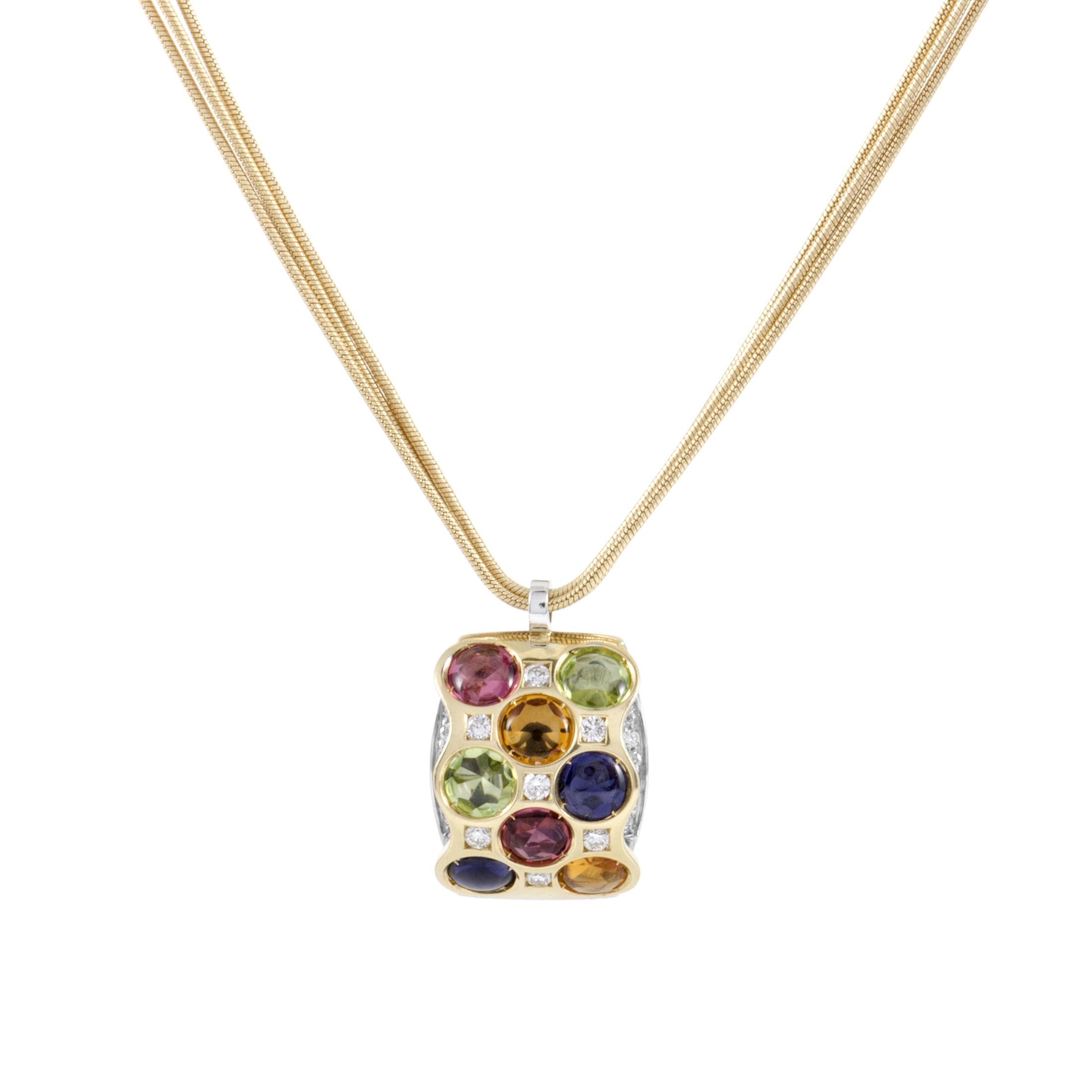 "Image of ""Bibigi 18K White and Yellow Gold Gemstone Pendant Necklace"""
