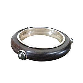 Bottega Veneta Wood, Sterling Silver and Hematite Bracelet