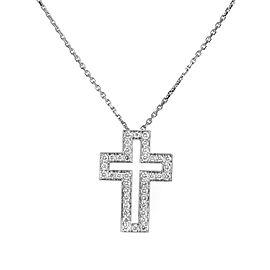 Boucheron 18K White Gold Diamond Cross Pendant Necklace