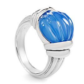 Boucheron 18K White Gold Carved Blue Jade Ring Size 5.5