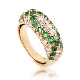 Boucheron 18K Yellow Gold 0.75ct Diamond & Emerald Ring Sz 4.5