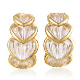 Boucheron 18K Yellow Gold Crystal Heart Clip-on Earrings
