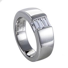 Boucheron 18K White Gold Diamond Baguette Band Ring Size 4.5