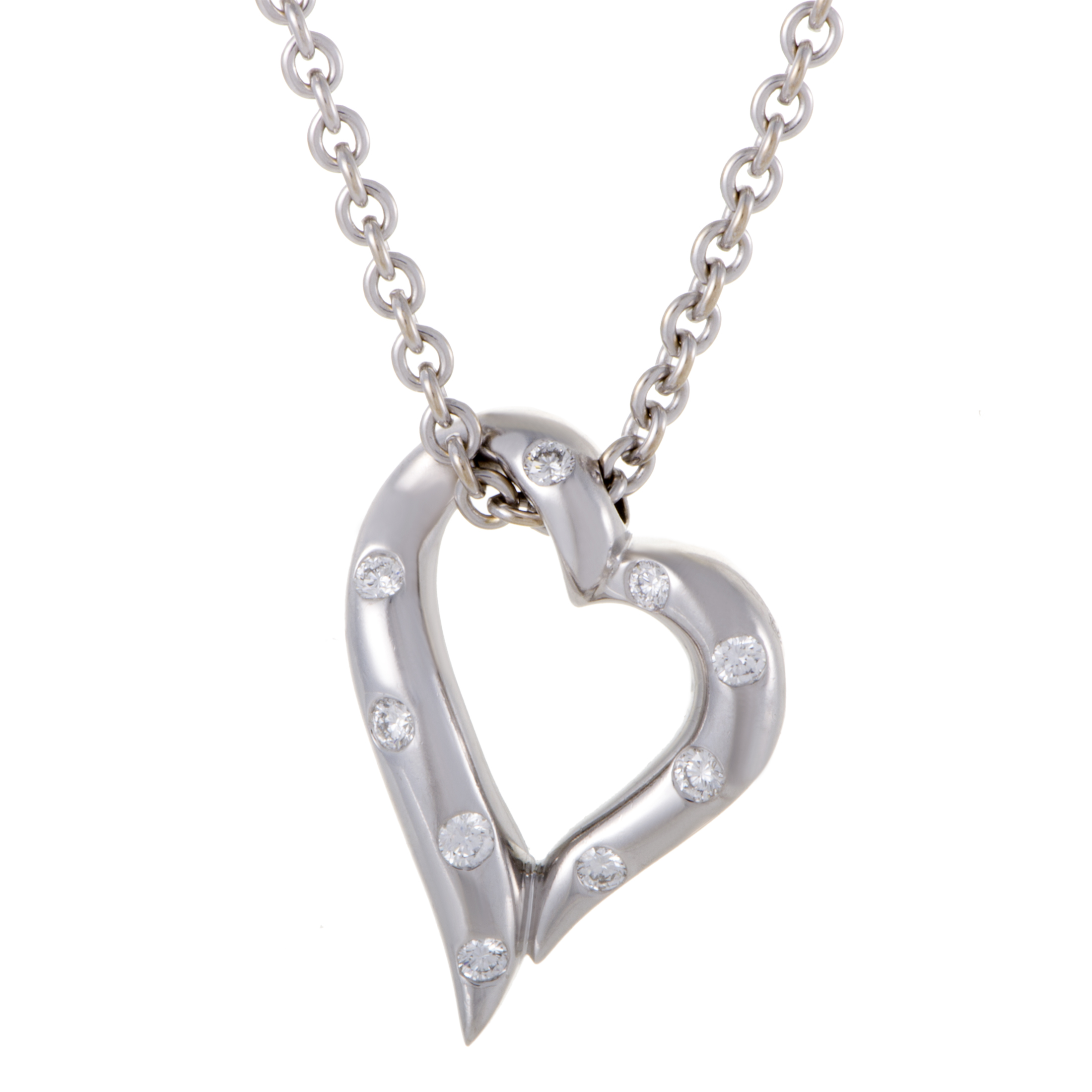 "Image of ""Boucheron 18K White Gold Diamond Heart Pendant Necklace"""