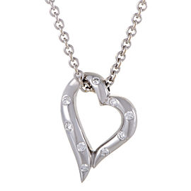 Boucheron 18K White Gold Diamond Heart Pendant Necklace