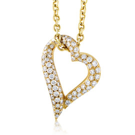 Boucheron 18K Yellow Gold Diamond Heart Pendant Necklace