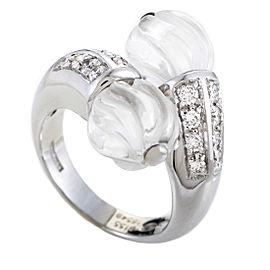 Boucheron 18K White Gold Diamond & Crystal Bypass Ring