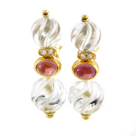 Boucheron 18K Yellow Gold Gemstone & Crystal Earrings