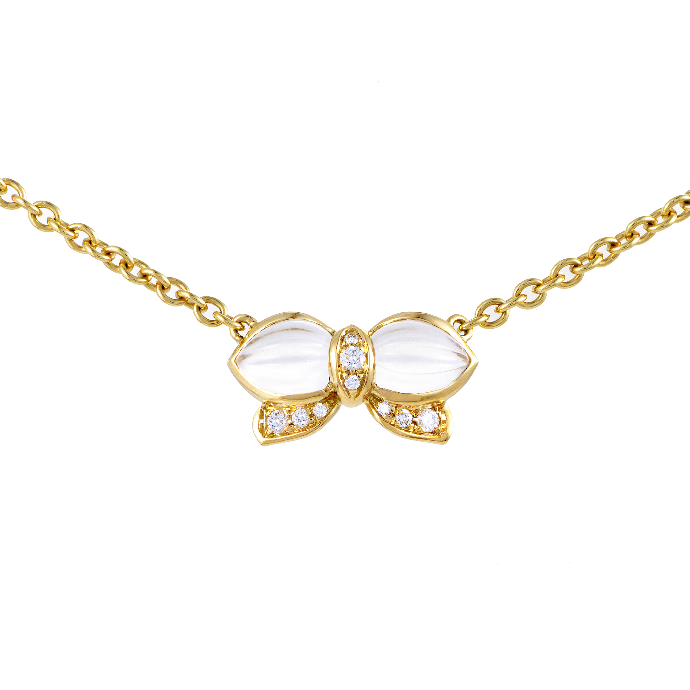 "Image of ""Boucheron 18K Yellow Gold Diamond & Crystal Butterfly Pendant Necklace"""