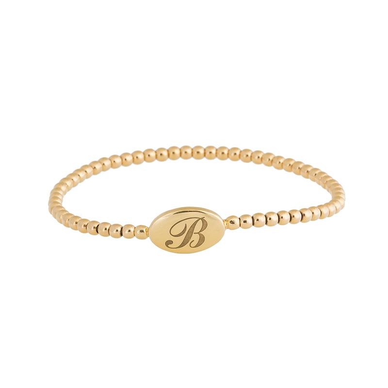 "Image of ""Rina Limor B engraved Gold Stretch Bracelet"""