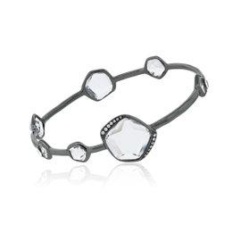 Ippolita Sterling Silver & Black Rodium Diamond Bangle Bracelet