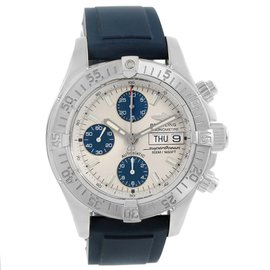 Breitling Aeromarine Superocean A13340 Stainless Steel & Blue Rubber Strap Automatic 42mm Mens Watch