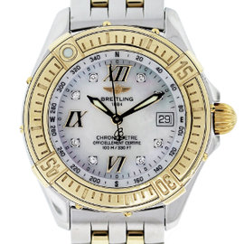 Breitling Windrider D67365 Two Tone Mother of Pearl Diamond Dial Womens Watch