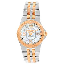 Breitling Galactic C71340 Stainless Steel/Rose Gold Diamond Dial 30mm Womens Watch