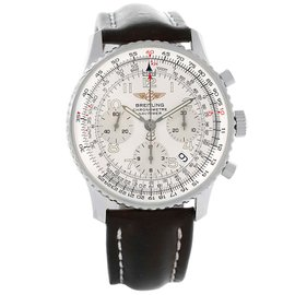Breitling Navitimer A23322 Stainless Steel & Leather Silver Dial Automatic 42mm Mens Watch