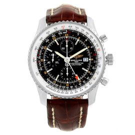 Breitling Navitimer World A24322 Stainless Steel & Leather Black Dial Automatic 46mm Mens Watch