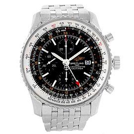 Breitling Navitimer World GMT A24322 Black Dial Stainless Steel Bracelet 46mm Mens Watch