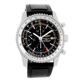 Breitling Navitimer World GMT A24322 Stainless Steel Rubber Strap 46mm Mens Watch