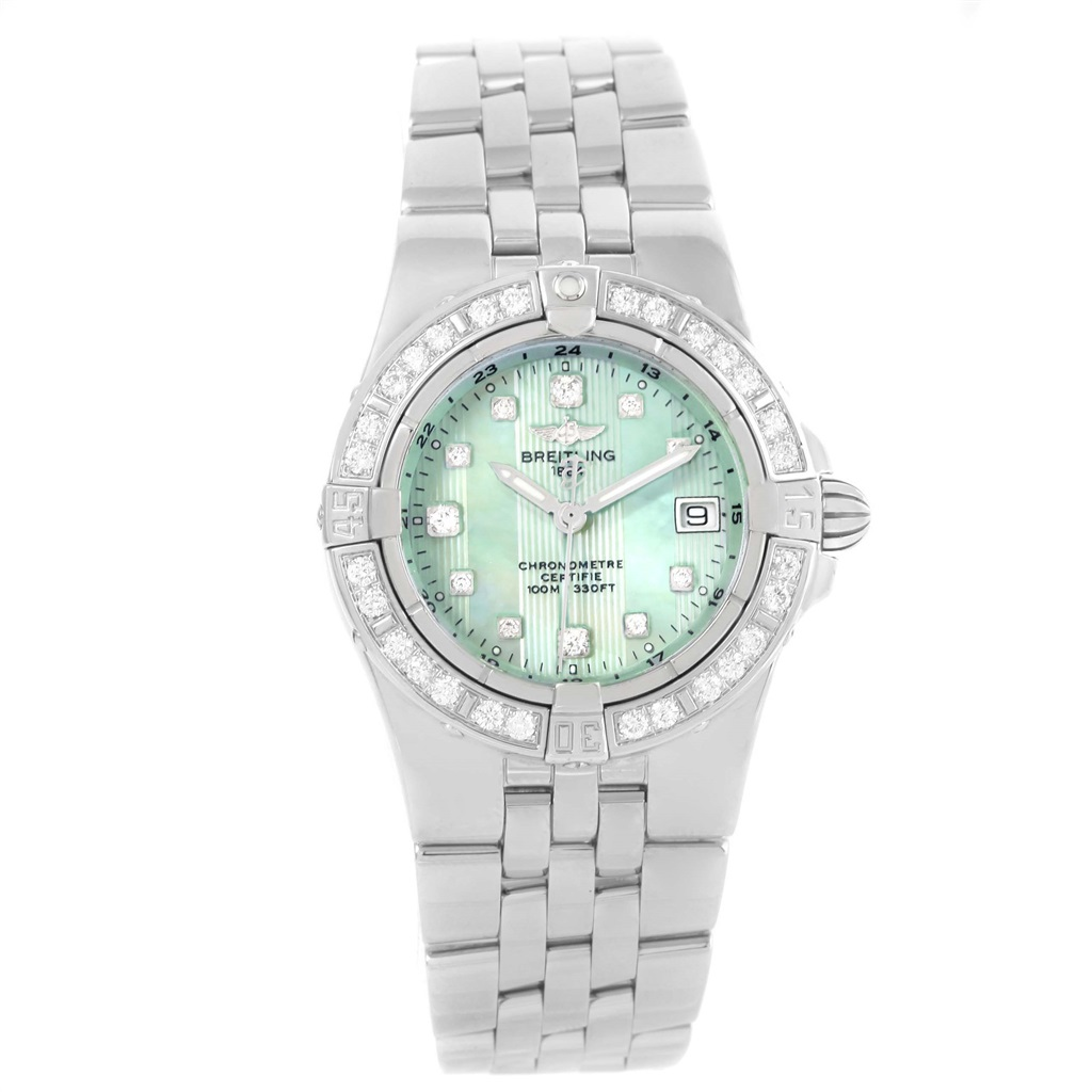 """""""""""Breitling Starliner A71340 Stainless Steel Green Mother of Pearl"""""""""""" 1936678"""