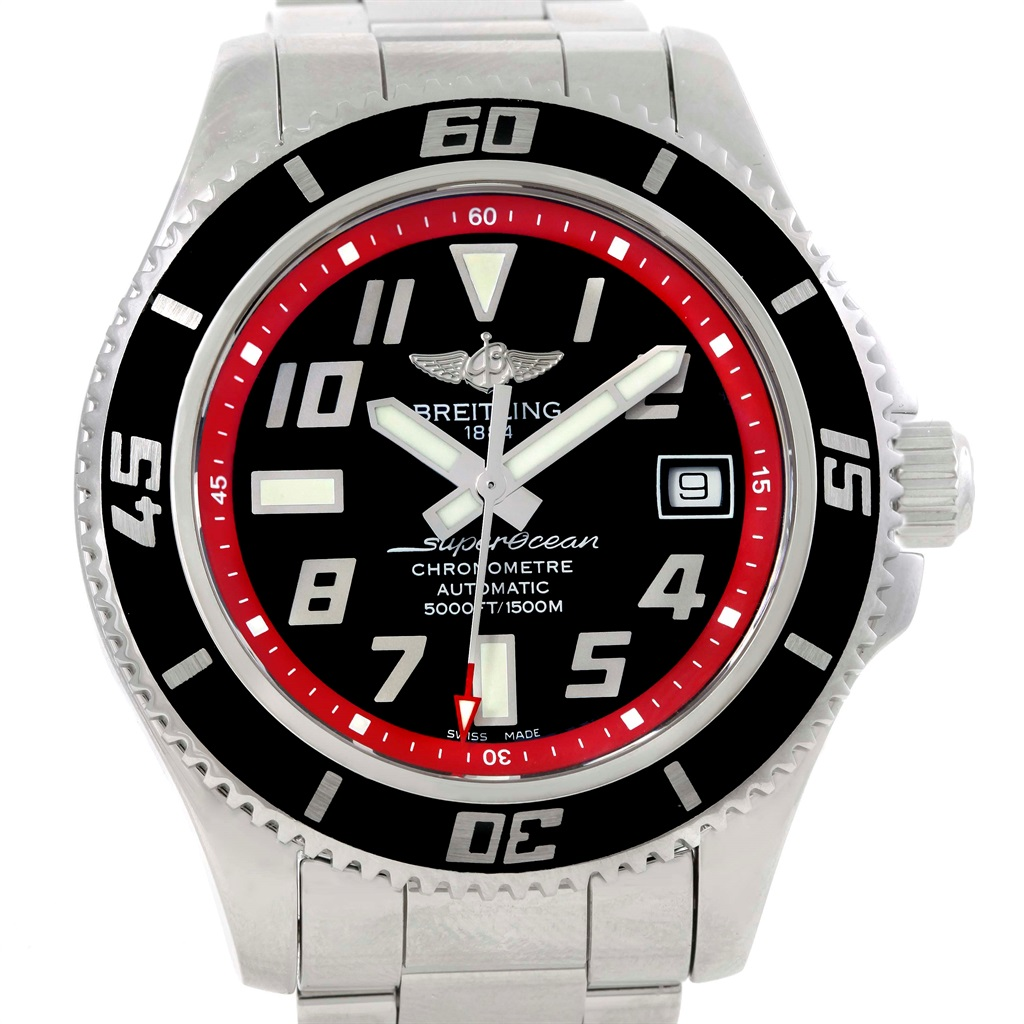 """Image of """"Breitling Superocean A17364 Stainless Steel Black Red Automatic 42mm"""""""