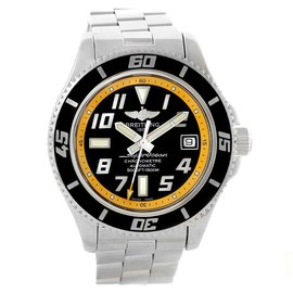 Breitling Superocean A17364 Stainless Steel Black/Yellow Dial Automatic 42mm Mens Watch