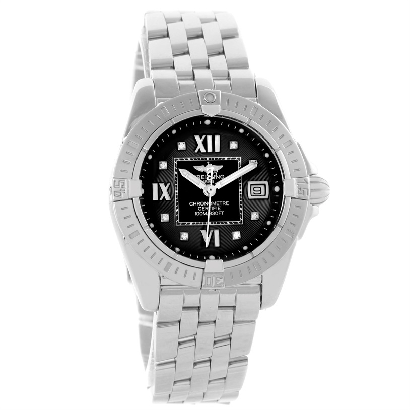 """Image of """"Breitling Windrider Cockpit A71356 Stainless Steel Black Diamond Dial"""""""