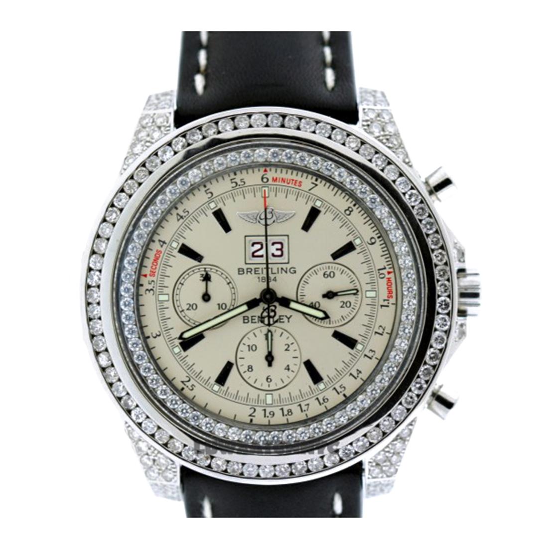 "Image of ""Breitling Bentley Stainless Steel & Diamond Mens Watch"""