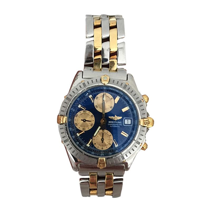 "Image of ""Breitling Chronomat B13352 18K Gold & Stainless Steel 40mm Mens Watch"""