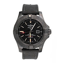Breitling Avenger V1731010/BD12 Black Titanium Canvas Military Strap Automatic 48mm Men's Watch