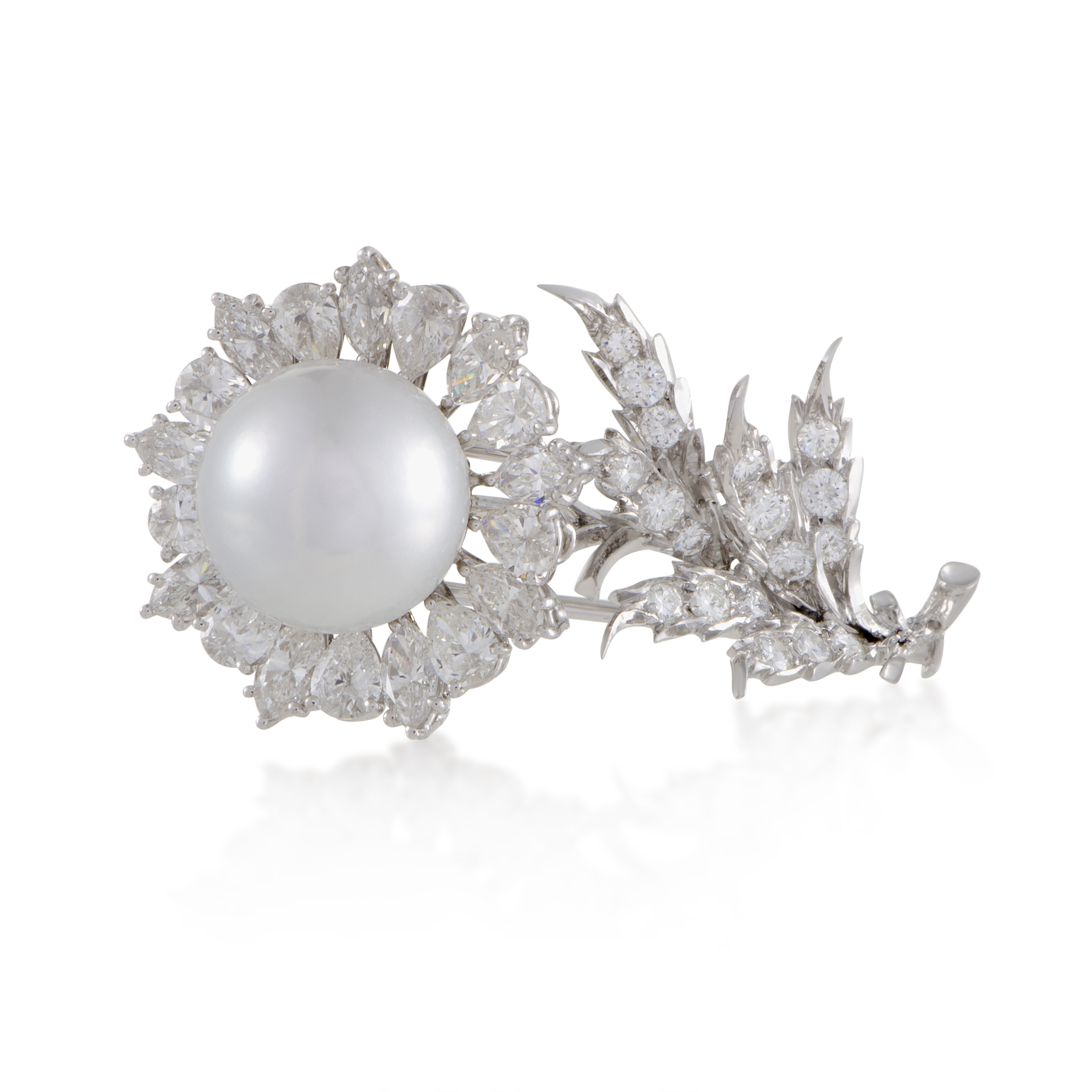"""Image of """"Buccellati 18K White Gold Diamond and Pearl Flower Brooch"""""""