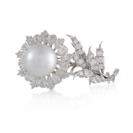 Buccellati 18K White Gold Diamond and Pearl Flower Brooch