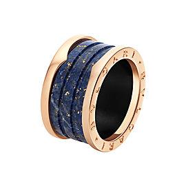 Bvlgari Bulgari B. Zero 1 18K Rose Gold Blue Marble Band Ring