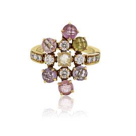 Bulgari 18K Yellow Gold Sapphire and Diamond Cluster Ring Size 8
