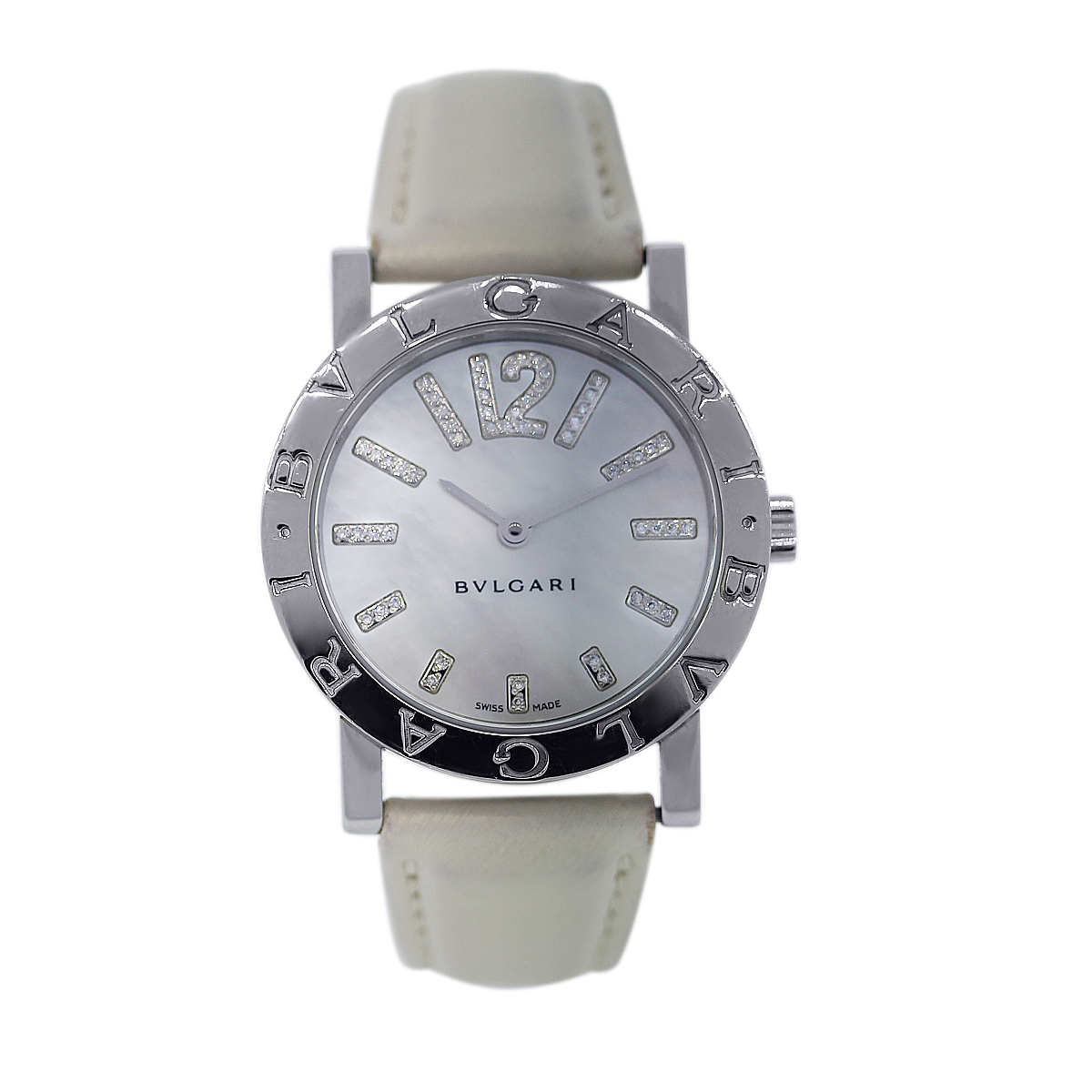 """Image of """"Bulgari Bb33Sl Stainless Steel / Leather 33mm Womens Watch"""""""