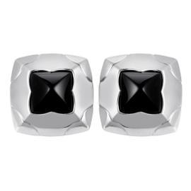 Bulgari Piramide 18K White Gold Onyx Clip-on Earrings