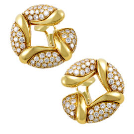 Bulgari 18K Yellow Gold Diamond Pave Clip-on Earrings