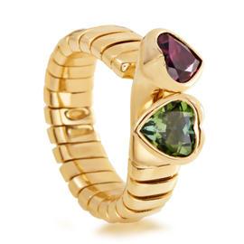 Bulgari Tubogas 18K Yellow Gold Peridot & Rhodolite Garnet Hearts Ring
