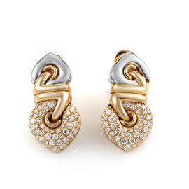 Bulgari 18K Multi-Tone Gold Diamond Clip-On Earrings