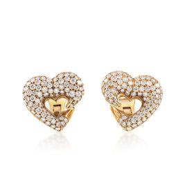 Bulgari 18K Yellow Gold Diamond Pave Heart Clip-On Earrings