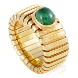 Bulgari 18K Yellow Gold Tubogas Emerald Cabochon Band Ring Size 5.75