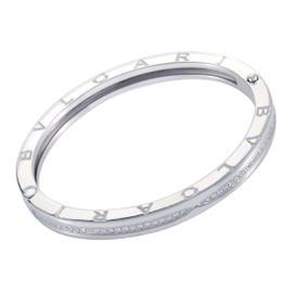 Bulgari B.Zero1 18K White Gold Diamond Pave Bangle Bracelet
