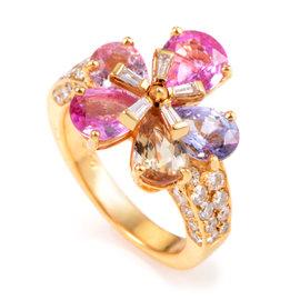Bulgari 18K Yellow Gold Diamond & Sapphire Petal Ring