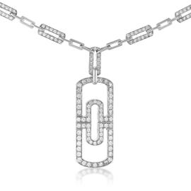 Bulgari Parentesi 18K White Gold Diamond Pave Pendant Necklace