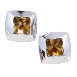 Bulgari Piramide 18K White Gold Citrine Clip-on Earrings