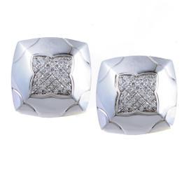 Bulgari Piramide 18K White Gold Partial Diamond Pave Clip-on Earrings