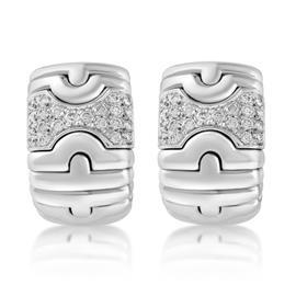 Bulgari Parentesi 18K White Gold Diamond Huggies Clip-on Earrings