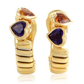 Bulgari 18K Yellow Gold Tubogas Amethyst & Citrine Heart Earrings