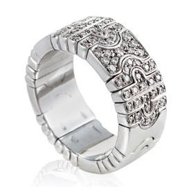 Bulgari Parentesi 18K White Gold Partial Diamond Pave Band Ring