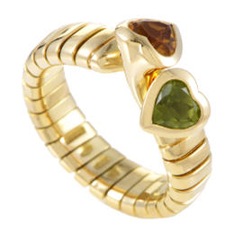 Bulgari 18K Yellow Gold Tubogas Peridot & Citrine Hearts Ring Size 6.5